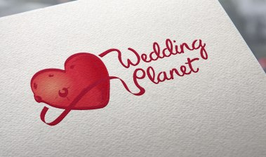 Typography is merged with a ribbon which surrounds the heart planet.